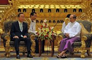 Myanmar President Thein Sein (R) meets United Nations Secretary General Ban Ki-moon at his residence in Naypyidaw on April 30, 2012. Ban urged Western nations to further ease sanctions against Myanmar, in a major show of support for changes sweeping through the former pariah state