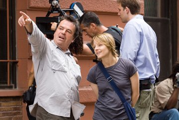 Director Neil Jordan and Jodie Foster on the set of Warner Bros. Pictures' The Brave One