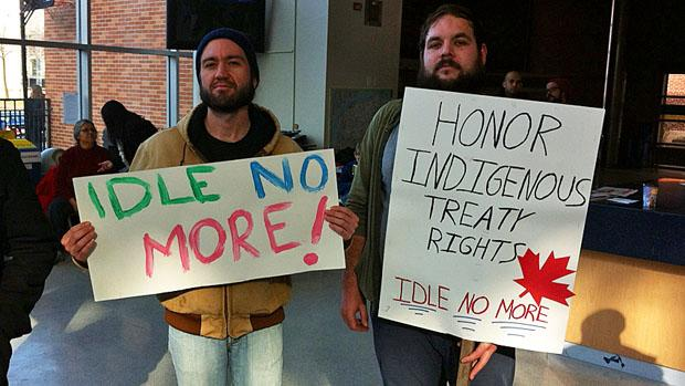 An Idle No More event was held Friday at the University of Windsor. Another is planned to disrupt traffic at the Ambassador Bridge on Wednesday.