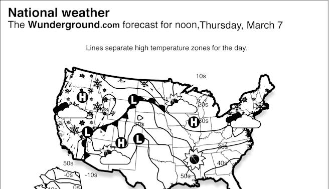 Rain and chances of coastal flooding continues near the Upper Mid-Atlantic and New England coasts as this week's winter storm remains offshore in the western Atlantic Ocean Thursday March 7, 2013.  Meanwhile, several disturbances will spread rain and snow across the West.   (AP Photo/Weather Underground