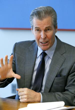 Macy's Inc. CEO Terry Lundgren speaks during a news conference after the company's shareholders meeting, Friday, May 20, 2011, in Cincinnati. (AP Photo/David Kohl)