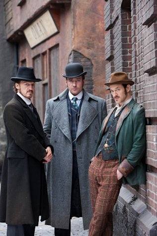 "This undated publicity photo released by BBC shows, from left, Jerome Flynn as Detective Sergeant Bennet Drake, Matthew Macfadyen as Detective Inspector Edmund Reid and Adam Rothenberg as Captain Homer Jackson, in a scene from ""Ripper Street,"" which debuts on BBC America on Saturday, Jan. 19, 2013, 9 ET. (AP Photo/BBC,Tiger Aspect)"