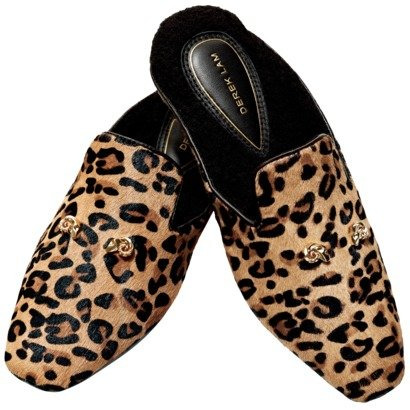 Leopard-print house slippers.