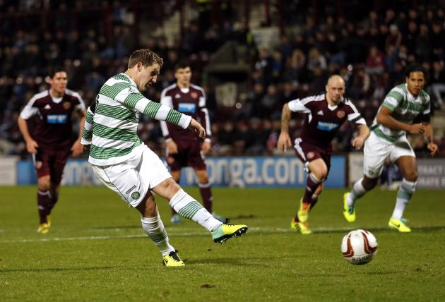 Celtic's Commons scores his third goal against Heart of Midlothian during their Scottish Cup fourth round soccer match in Edinburgh