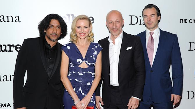 """Actor Naveen Andrews, from left, actress Naomi Watts, director Oliver Hirschbiegel and producer Robert Bernstein, right, attend the premiere of """"Diana"""" hosted by The Cinema Society, Linda Wells and Allure Magazine at the SVA Theater on Wednesday, Oct. 30, 2013 in New York. (Photo by Evan Agostini/Invision/AP)"""