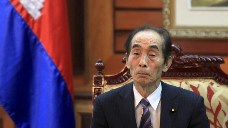 Japan's Upper House Vice-President Koshiishi, attends a meeting with the president of Cambodia's National Assembly Heng Samrin in Phnom Penh