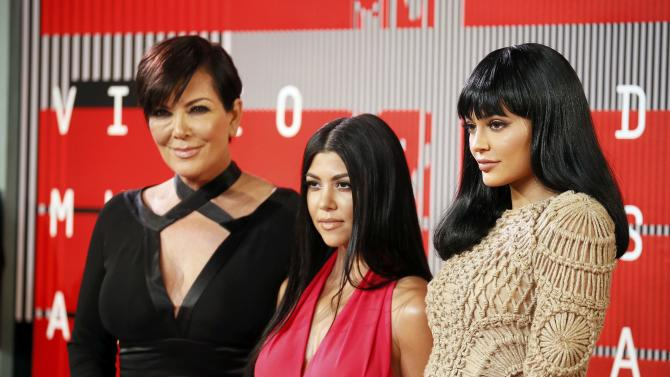 Kris Jenner, Kourtney Kardashian and Kylie Jenner arrive at the 2015 MTV Video Music Awards in Los Angeles