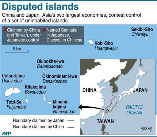 A map showing islands claimed by both Japan and China