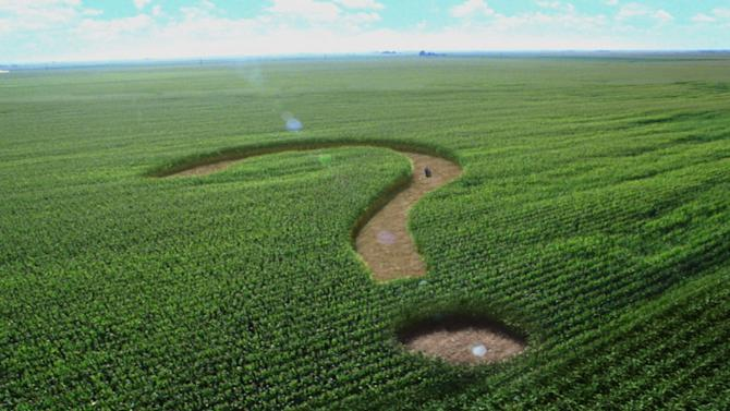 "FILE - This undated file image from a television advertisement provided by the Corn Refiners Association, shows a corn maze shaped like a question mark. The Food and Drug Administration on Wednesday, May 30, 2012 rejected the Corn Refiners Association's bid to rename its sweetening agent ""corn sugar.""  The FDA said that it defines sugar as a solid, dried and crystallized food — not a syrup. (AP Photo/The Corn Refiners Association)"