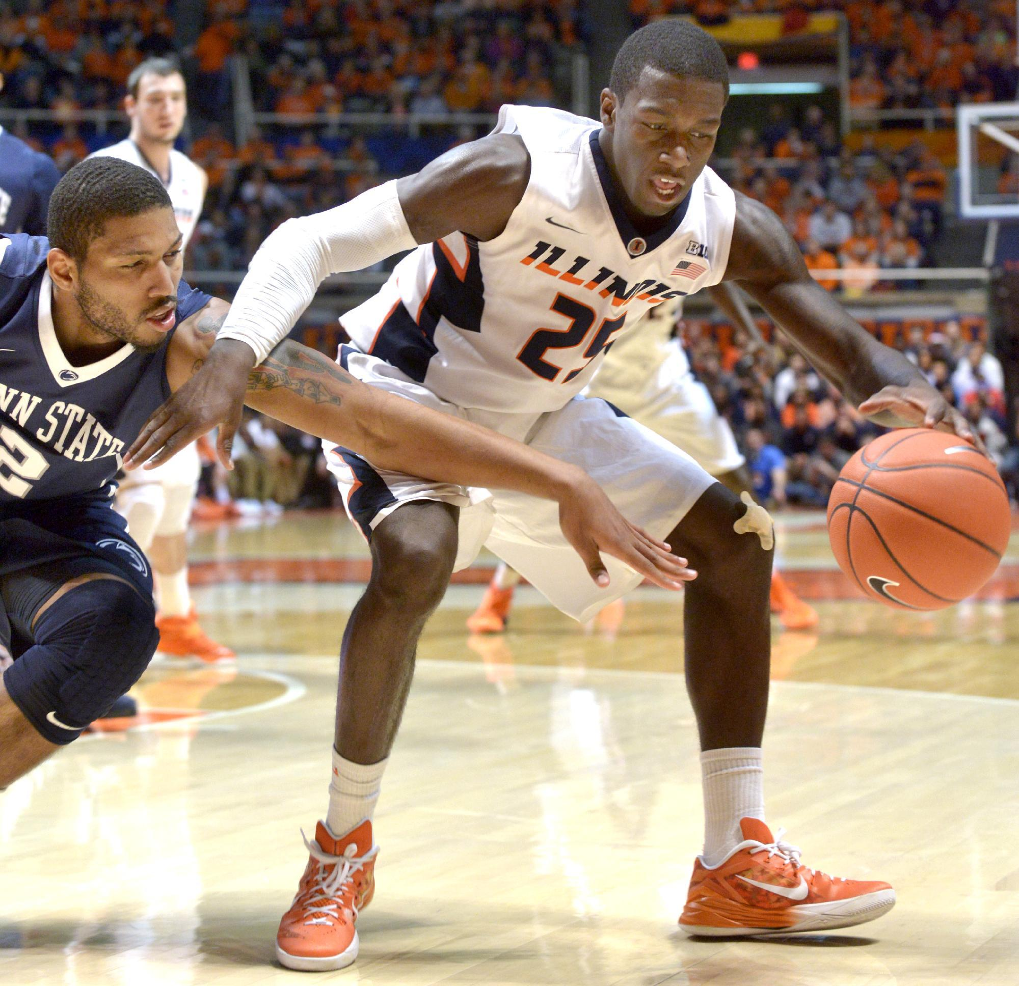 Hill delivers nail-biting 60-58 Illini win over Penn State