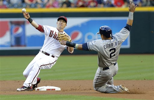 Arizona Diamondbacks' Cliff Pennington, left, forces out San Diego Padres' Everth Cabrera (2) while turing a double play on Chris Denorfia during the first inning of a baseball game on Friday, May 24,