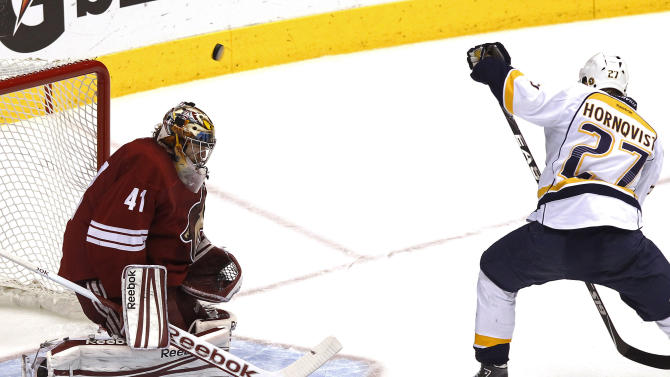 Phoenix Coyotes' Mike Smith (41) makes a save on a redirected shot by Nashville Predators' Patric Hornqvist (27), of Sweden, during the first period in Game 5 in an NHL hockey Stanley Cup Western Conference semifinal playoff series Monday, May 7, 2012, in Glendale, Ariz. (AP Photo/Ross D. Franklin)