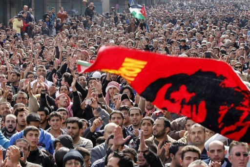 &lt;p&gt;Jordanian protesters wave a flag bearing a picture of Argentine-born Cuban revolution hero Che Guevara during a demonstration against hikes in fuel prices in Amman. Thousands of protesters made unprecedented calls for Jordan&#39;s King Abdullah II to go.&lt;/p&gt;