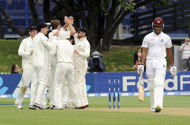 West Indies Kieron Powell is out for 36 bowled by New Zealand's Tim Southee on the third day of the second international cricket match at the Basin Reserve in Wellington, New Zealand, Friday, Dec.