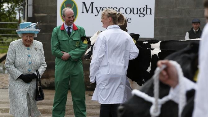 Britain's Queen Elizabeth inspects cattle at Myerscough College during her visit to Lancaster