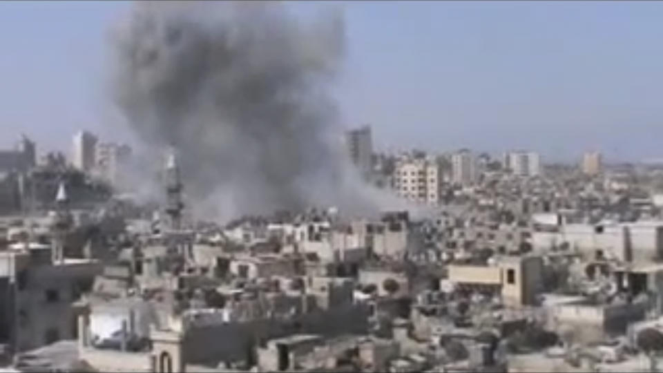 This image made from video provided by Shaam News Network Friday, July 6, 2012, purports to show shelling in Homs, Syria. (AP Photo/Shaam News Network via AP video) THE ASSOCIATED PRESS HAS NO WAY OF INDEPENDENTLY VERIFYING THE CONTENT, LOCATION OR DATE OF THIS PICTURE.