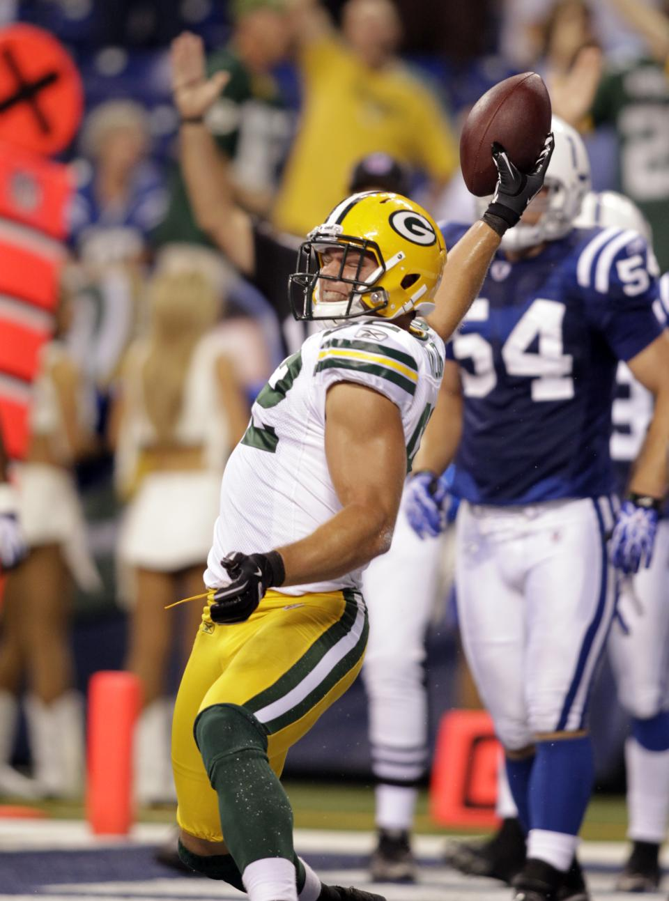 Green Bay Packers tight end Ryan Taylor celebrates a touchdown late in the fourth quarter of an NFL preseason football game against the Indianapolis Colts in Indianapolis, Friday, Aug. 26, 2011. The Pacers defeated the Colts 24-21.(AP Photo/AJ Mast)