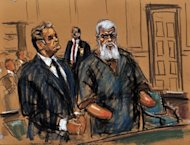 In this courtroom sketch, radical Islamist preacher Abu Hamza al-Masri (R) is seen in Federal Court for his arraignment along with his defense lawyer Jeremy Schneider in New York after being extradited from Britain. Hamza pleaded not guilty in a US court to 11 terror charges, including conspiring to set up an Al-Qaeda-style training camp on American soil