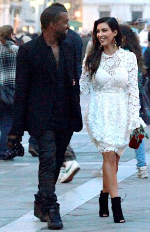 Kim Kardashian Wears Bridal-Inspired Dress in Venice, Italy on 32nd Birthday with Kanye West