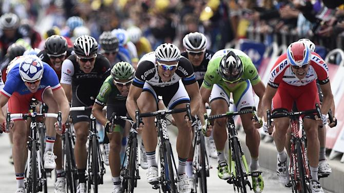 Cyclists during the fourth stage of the Tour de France between Le Touquet-Paris-Plage and Lille on July 8, 2014