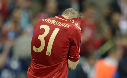 Bastian Schweinsteiger was left distraught when he hit the post with his spot-kick to set-up Chelsea's win