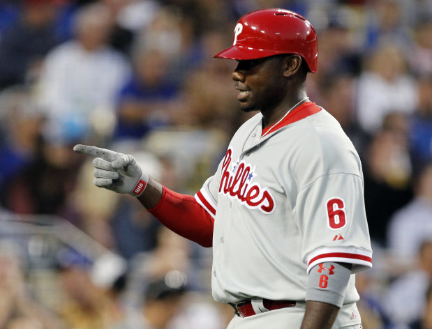Philadelphia Phillies' Ryan Howard points after hitting a home run against the Los Angeles Dodgers' during the fourth inning of a baseball game on Monday, July 16, 2012, in Los Angeles. (AP Photo/Danny Moloshok)