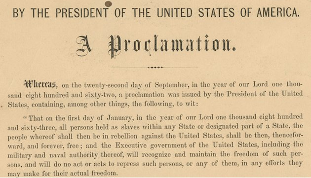 This undated photo provided by Seth Kaller, Inc., shows a detail from the rare original copy of President Abraham Lincoln's Emancipation Proclamation which sold Tuesday, June 26, 2012, at a New York a