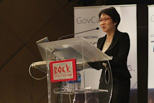 Grace Fu, Senior Minister of State for Information, Communication and the Arts, cites the government's efforts to engage citizens online. (Photo courtesy of Xavier Lur)