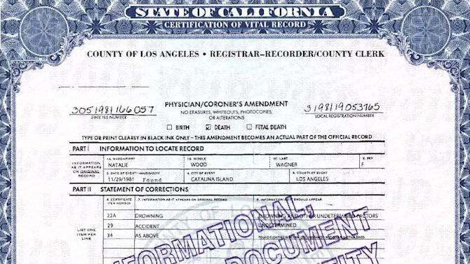 """This photo released by the Los Angeles County Registrar/County Clerk shows page 2 of actress Natalie Wood's death certificate. Authorities amended Wood's death certificate on Aug. 1, 2012 to reflect some of the lingering questions about how the actress died in the waters off Catalina Island in November 1981. The changes include altering her cause of death to """"Drowning and other undetermined factors"""" and adding the statement """"Circumstances not clearly established"""" to how Wood ended up in the water while on a yacht with husband Robert Wagner and actor and co-star Christopher Walken. (AP Photo/ Los Angeles County Registrar/County Clerk)"""