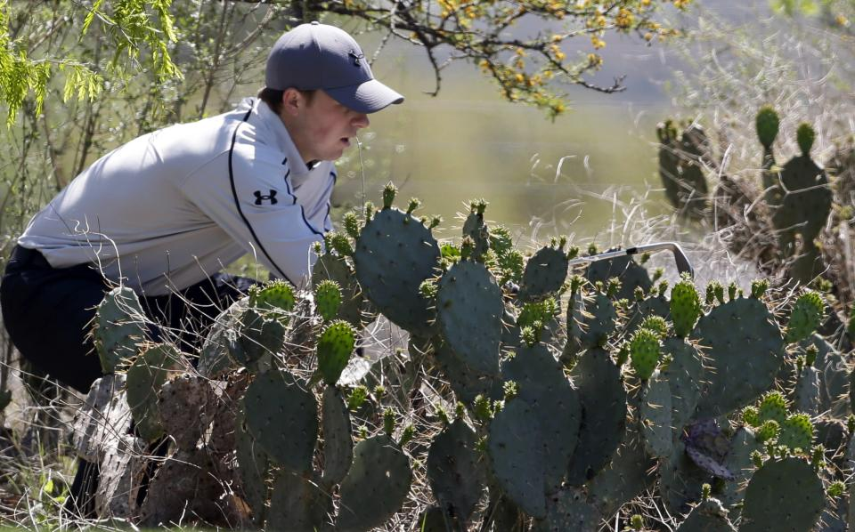 Jordan Spieth, of Dallas, uses a club to look for his ball in a mound of cacti on the eighth hole during the first round of the Texas Open golf tournament, Thursday, April 4, 2013, in San Antonio.  (AP Photo/Eric Gay)
