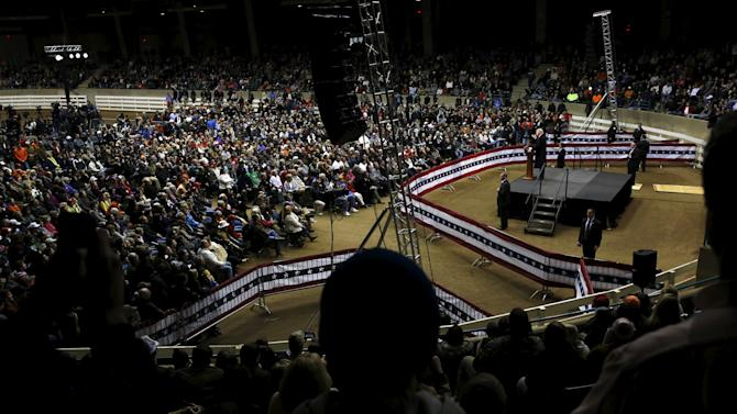 Trump holds a rally at Clemson University's livestock arena in Pendleton