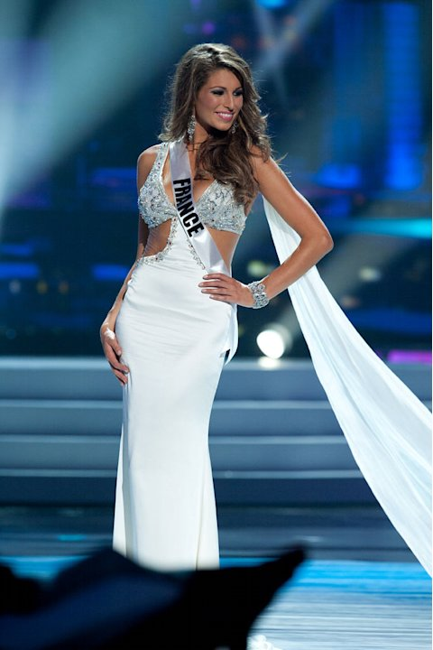"Miss France 2011, Laury Thilleman competes in her choice evening gown, as one of the top 10 contestants, during the ""60th Annual Miss Universe"" presentation show from São Paulo, Brazil."
