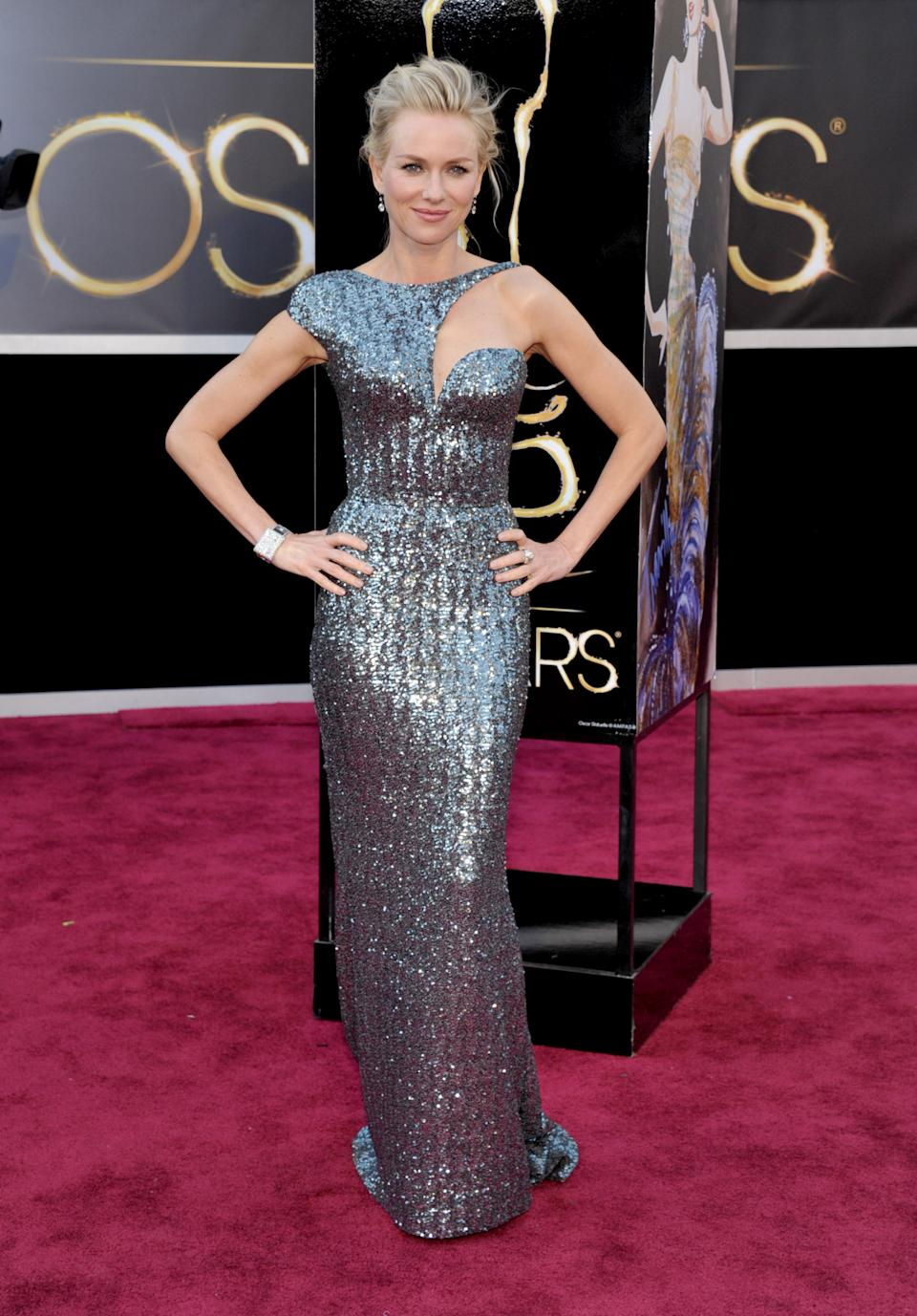 Actress Naomi Watts arrives at the Oscars at the Dolby Theatre on Sunday Feb. 24, 2013, in Los Angeles. (Photo by John Shearer/Invision/AP)