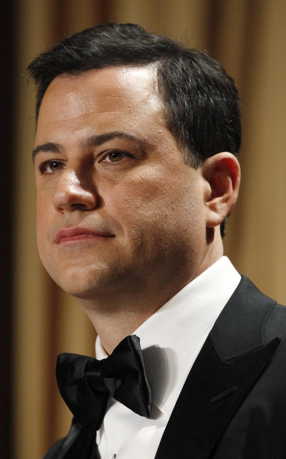Late-night comic Jimmy Kimmel headlines the White House Correspondents' Association Dinner, Saturday, April 28, 2012 in Washington. (AP Photo/Haraz N. Ghanbari)