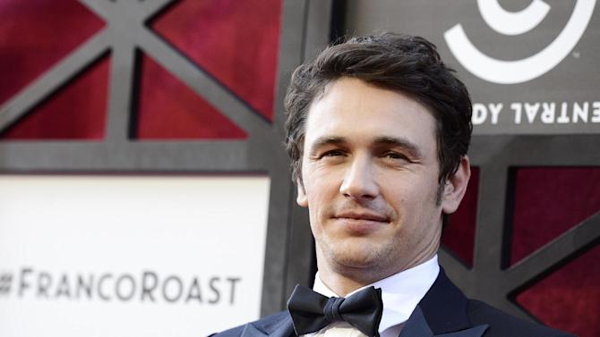 FILE - In this Aug. 25, 2013 file photo, actor James Franco arrives at the Comedy Central Roast of James Franco at The Culver Studios, in Culver City, Calif. LAX is the international hub for stars in and out of Hollywood, and a few celebrities, such as Franco and Nick Jonas, were among the travelers caught up in the chaos following the deadly shooting at the airport Friday morning, Nov. 1, 2013. (Photo by Dan Steinberg/Invision/AP, file)