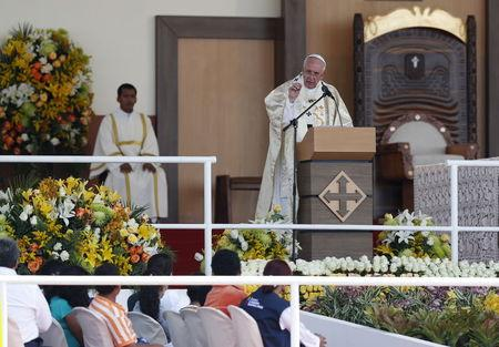 Pope Francis addresses faithful at Parque Samanes in Guayaquil