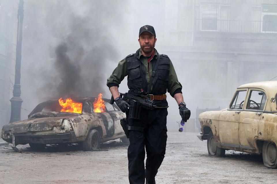 "This film image released by Lionsgate shows Chuck Norris in a scene from ""The Expendables 2."" (AP Photo/Lionsgate-Millennium Films, Frank Masi)"