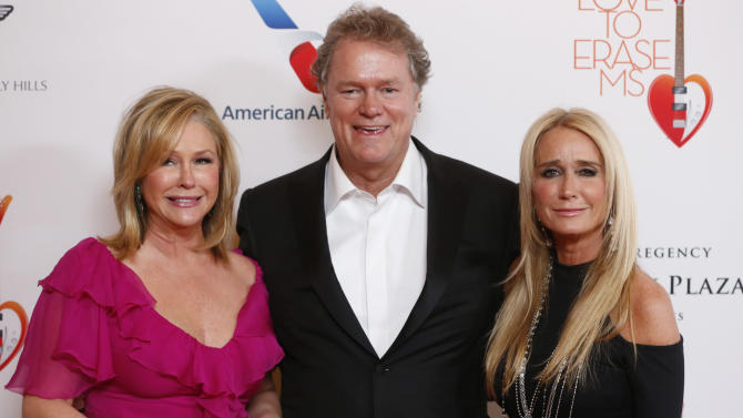 """Kathy Hilton, Rick Hilton and Kim Richards attend the 20th Annual Race to Erase MS Event """"Love to Erase MS"""" at the Hyatt Regency Century Plaza on Friday, May 3, 2013 in Los Angeles. (Photo by Todd Williamson/Invision/AP)"""