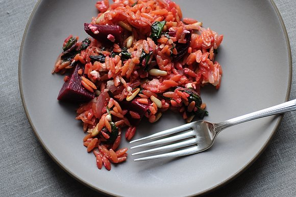 Warm Orzo Salad with Beets &amp; Greens