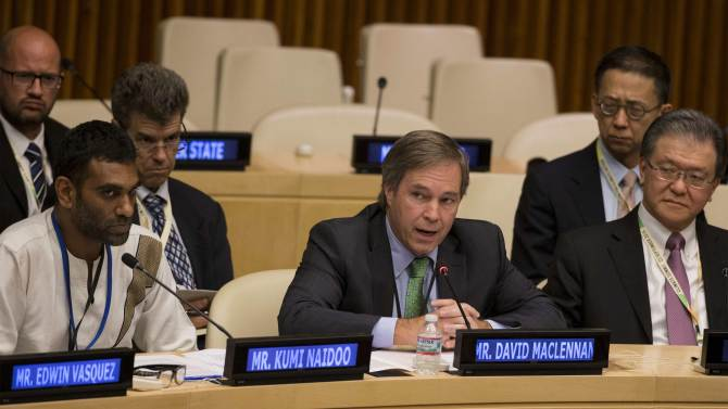 Cargill Chief Executive David MacLennan addresses the Climate Summit at the U.N. headquarters in New York