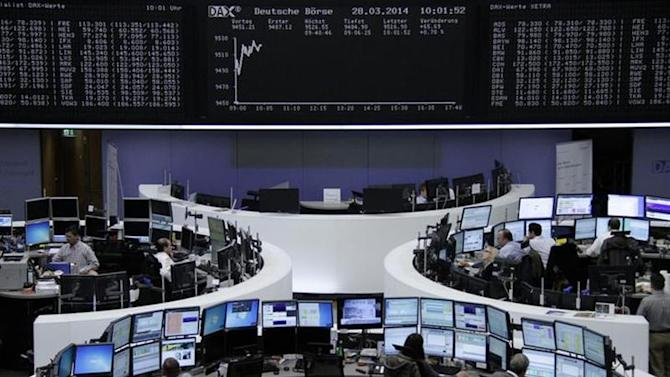 The curve of the German share price index DAX board is pictured at the Frankfurt stock exchange March 28, 2014. REUTERS/Remote/Stringer