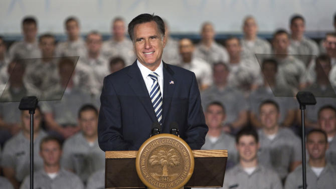 Republican presidential candidate, former Massachusetts Gov. Mitt Romney speaks to Citadel cadets and supporters during a campaign speech inside Mark Clark Hall on The Citadel campus in Charleston, S.C., Friday Oct. 7, 2011.  (AP Photo/Mic Smith)