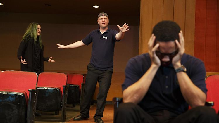 "This publicity photo released by The Publicity Office shows, from left, Louisa Krause, Matthew Maher and Aaron Clifton Moten, in a scene from Annie Baker's new play, ""The Flick,"" premiering off-Broadway at Playwrights Horizons in New York.  (AP Photo/The Publicity Office, Joan Marcus)"