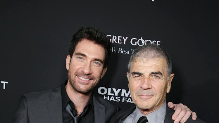 Dylan McDermott and Robert Forster at FilmDistrict's Premiere of 'Olympus Has Fallen' hosted by Brioni and Grey Goose at the ArcLight Hollywood, on Monday, March, 18, 2013 in Los Angeles. (Photo by Eric Charbonneau/Invision for FilmDistrict/AP Images)