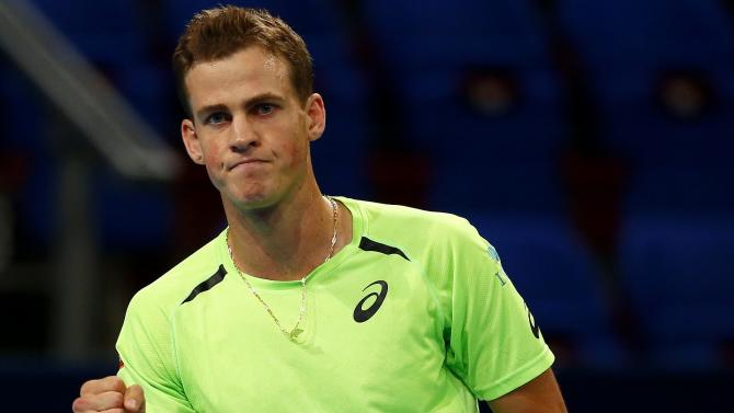 Pospisil of Canada reacts during his match against Finland's Nieminen at the Swiss Indoors ATP tennis tournament in Basel