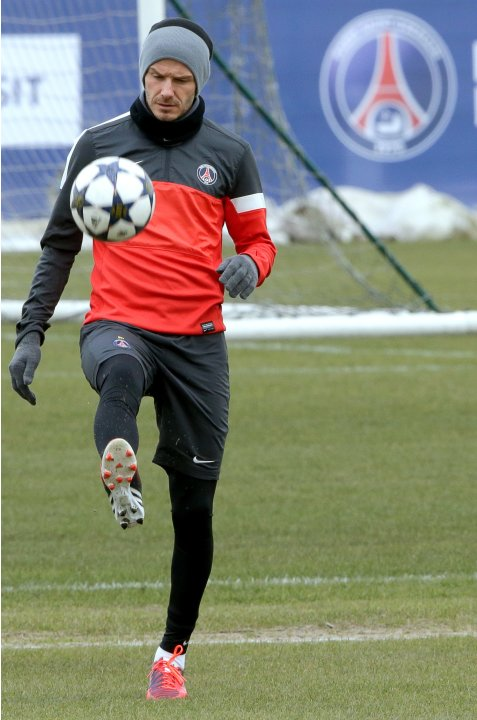 Paris Saint-Germain player Beckham attends a training session at the Camp des Loges training center in Saint-Germain-en-Laye