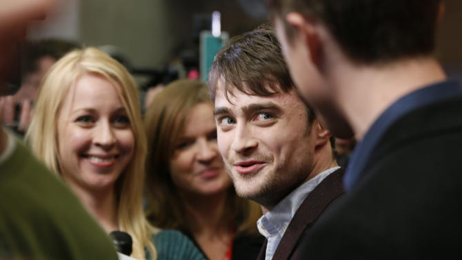"Actor Daniel Radcliffe is interviewed at the premiere of ""Kill Your Darlings"" during the 2013 Sundance Film Festival on Friday, Jan. 18, 2013 in Park City, Utah. (Photo by Danny Moloshok/Invision/AP)"