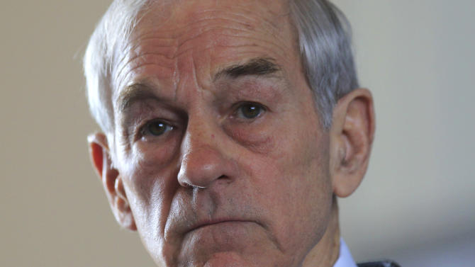 Republican presidential candidate, Rep. Ron Paul, R-Texas speaks at the Little Rock Baptist Church in Detroit, Monday, Feb. 27, 2012. (AP Photo/Carlos Osorio)