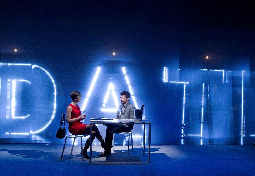 "In this theater image released by The Hartman Group, Olivia Thirlby, left, and Topher Grace are shown during a performance of ""Lonely I'm Not,"" in New York. (AP Photo/The Hartman Group, Joan Marcus)"