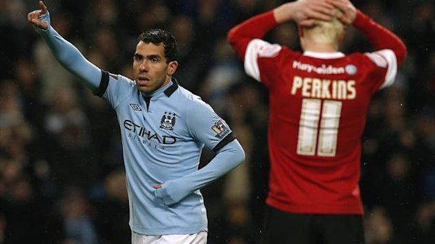 Carlos Tevez (Manchester City) v Barnsley Reuters